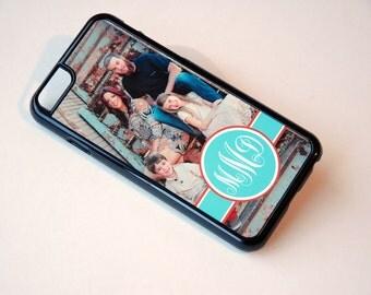 iPhone 7 Case, Custom Phone Case, Photo + Monogram, Mint + Coral, iPhone 4, 4s, 5, 5s, 5c, 6, 6s, 6 plus, 6s plus Slim Plastic Case