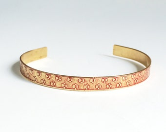 Etched Brass Cuff, Paw Prints Bracelet - Free Domestic Shipping