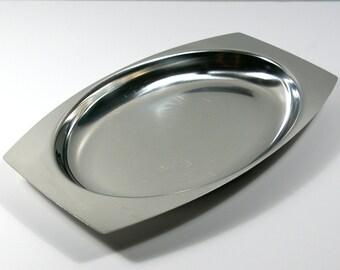 Vintage Serving Platter, Stainless Steel Serving Platter, Broms 18/8 Sweden Serving Dish, Mid Century Serving Tray