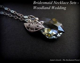 Bridesmaid Necklace Sets - Swarovski Crystal Raccoon Necklaces - Gray Crystal Bridesmaid  - Woodland Country Outdoor Nature Inspired Wedding