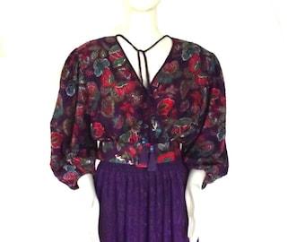 80s Dress / Vintage Diane Freis Diane Fres Purple Print Polyester Georgette Dress / Sz M