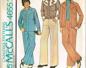 Child Flat Front Pants Slacks Leisure Shirt Jacket Suit Vintage 1970s McCalls 4655 Size 10 Waist 25 Chest 28