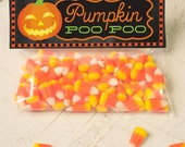 INSTANT DOWNLOAD Halloween funny Pumpkin Poop Treat Topper Candy Bag Topper Label homemade candy trick or treat bag printable orange candy