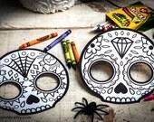 Halloween Printable coloring mask for kids cute skull day of the dead Dia de los Muertos sugar skull coloring page halloween activity