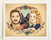 "Custom Family Portrait 8x10"" print personalized artwork in a vintage tattoo type illustration style husband wife dog cat kids artwork"
