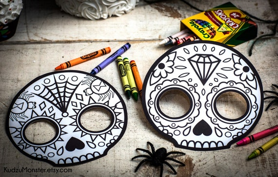 Halloween Printable coloring mask for kids cute skull day ...
