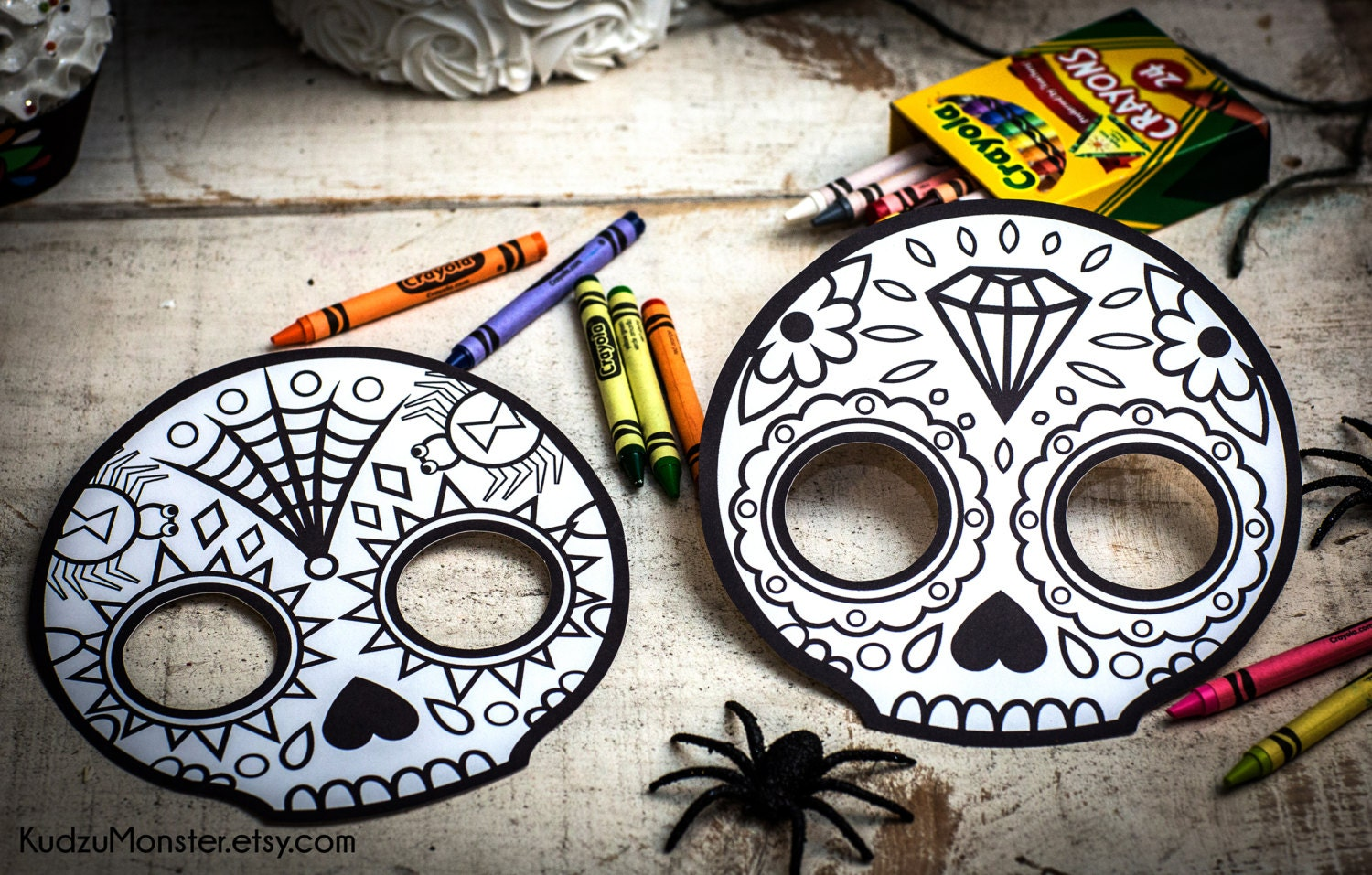 halloween printable coloring mask for kids cute skull day of