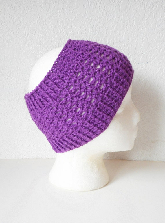 Free Crochet Patterns For Wide Headbands : Extra Wide Crochet Earwarmer Headband in Deep Grape Lace