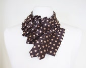 Katherine Ruffle Necktie Scarf - Brown Polkadot Cute Dandy Couture