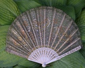 Handheld 1920's Flapper Lace and Sequin Fan Made From Celluloid Used for  Flapper Costume, Swing Dance, Bridal or Home Decor