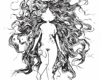 Bad Hair Day - 11x14 fine art archival print in black and white - wild woman