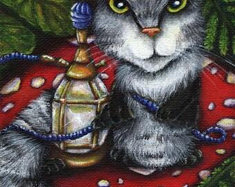 Caterpillar on Mushroom, Alice in Wonderland, Fantasy Cat Art 5x7 Reproduction Print