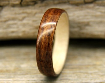 Bentwood Ring - Santos Rosewood Wooden Ring Lined With Sycamore- Handcrafted Wood Wedding Ring - Custom Made
