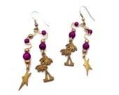 Gypsy Earrings, Star Earrings, Charm Earrings, Brass Earrings, Vintage Earrings, Boho Jewelry, Palm Tree, Festival, Bohemian, Tribal, Ethnic