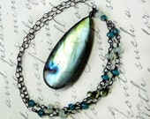 Labradorite Necklace, BIG Labradorite, WOW GORGEOUS, Pearl, Oxidized Sterling Silver - Pacifica by CircesHouse on Etsy