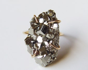 SALE Pyrite Crystal Gold Ring