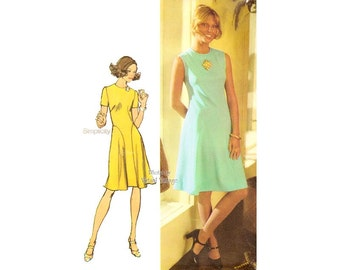 70s Dress Pattern Simplicity 9967 Short Sleeve or Sleeveless Fit and Flare Dress, Bust 38, Uncut