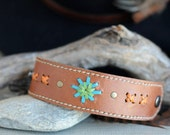 Kangaroo Leather Southwestern Style Cuff Hand Saddlery Stitched in Tan,  Turquoise, Apple Green and Orange