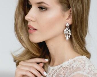Bridal Earrings , Wedding Chandelier Earrings , Bridal Statement Earrings , Opal Earrings , Ivory Pearl Earrings , Bridal Jewelry
