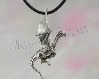 Sterling Silver Dragon Pendant, Flying Dragon Fantasy Jewelry