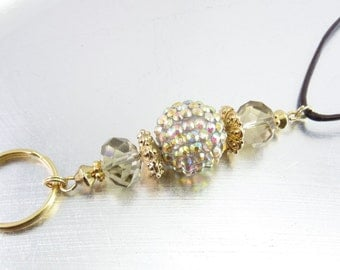 Bold Topaz Faceted Crystal Glass, Gold and Aurora Borealis Rhinestone ID Lanyard, Badge Holder, Key Chain Necklace