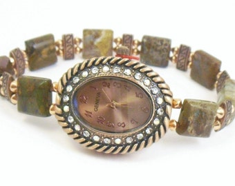 Brown Opal and Copper Beaded Stretchy Bracelet Watch with Copper Aurora Borealis Watch Face