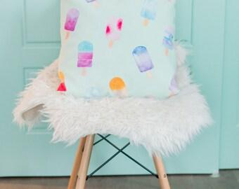 turquoise jettent des oreillers, menthe aquarelle, popsicle, Coussin housse, 18 x 18, chambre, chambre d'enfant turquoise, décoration chambre bébé
