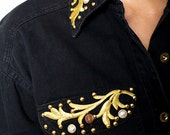 The Vintage Gold Embroidered and Beaded Black Country Western Blouse Shirt
