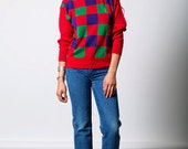 The Red Purple Green Checkered Golf Pullover Sweater
