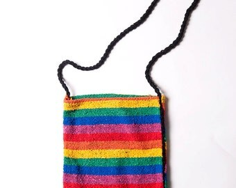 The Vintage Rainbow Striped Fabric Crossbody Bag