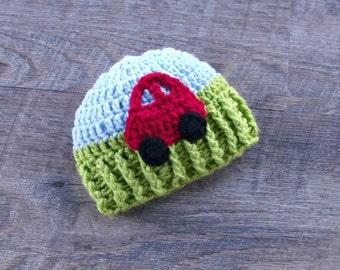 Car Baby Hat, Crochet Newborn Baby Boy Hat, Beanie Hat, Photo Prop, Car Baby Shower Gift
