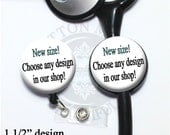 New 1 1/2 inch size Retractable Badge Reel or Stethoscope Id Tag in any Design in our Shop