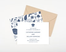 Seashell Save The Date, Shells, Coral and Starfish, Wedding Announcement or Bridal Shower