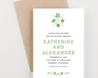 Winter Holiday Save The Date, Green and Black, Destination Wedding Invitation