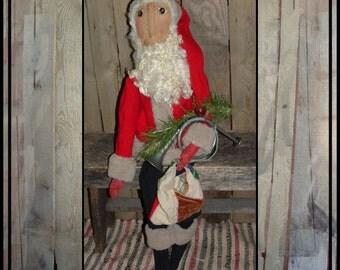 SALE Tall Primitive folk art Santa rag doll wool coat wool hat fur trimmed applique eyes  HAFAIR OFG faap soft sculpture quilt bag