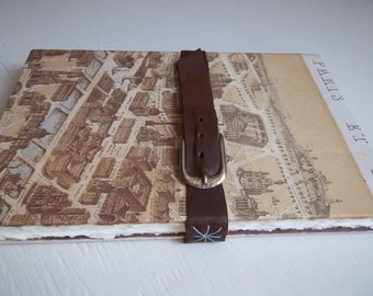 Paris Sketchbook with watercolor & mixed-media cotton papers, leather strap and buckle