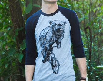 Bear on a Mountain Bike - Unisex Baseball Tee Shirt