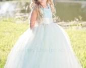 NEW! The Juliet Dress in Aqua Blue and Ivory - Flower Girl Tutu Dress