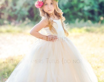 NEW! The Grace Dress in Ivory/Light Gold - Flower Girl Tutu Dress