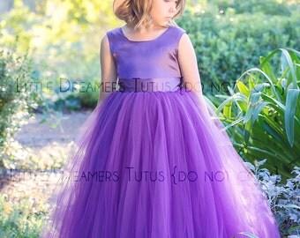 READY to SHIP - Size 6 - The Juliet Dress in Plum - Flower Girl Tutu Dress