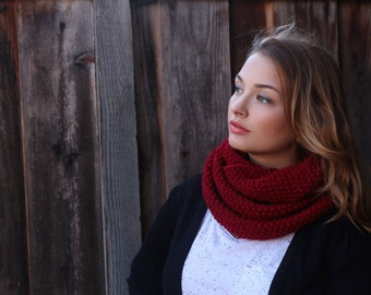 Crimson Red Infinity Scarf . Burgundy Knit Scarf . Winter Knit Scarf . Knit Cowl Scarf . Knit Burgundy Cowl . Knitted Scarf. Gift