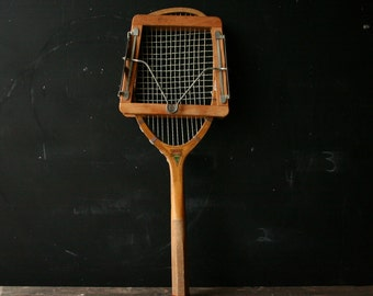 Antique Wood Tennis Racket Likely 1890s Special Darsonval With Wood and Metal Spring Cover Vintage From Nowvintage on Etsy