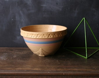 Vintage Stoneware Bowl Primative Mixing Rustic Pottery From Nowvintage on Etsy