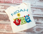 Personalized Monster First Birthday Shirt / ONE