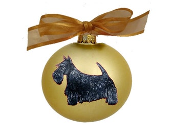 Scottish Terrier Scottie Dog Hand Painted Christmas Ornament - Can Be Personalized with Name