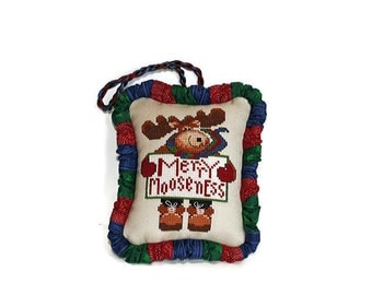Cross Stitch Pattern, Christmas Ornament, Merry Mooseness, Moose Cross Stitch, Whimsical Moose, Physical Pattern