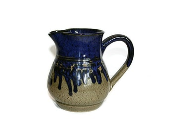 "Stoneware Jug, Pottery Pitcher, Cobalt Blue Drip Vase, Handled Jug, 6"" Glazed Jug, Hinkle Creek Pottery, Farmhouse Country Cottage Style"