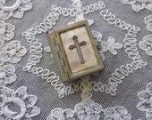 Aged Silver tone New Testament Bible pendant