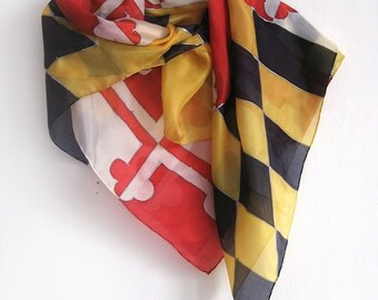 Maryland flags silk scarf painted by hand. Square silk scarf/ Bright colored painted scarf/ Personalized gifts/ Patriotic scarf 35 x 35