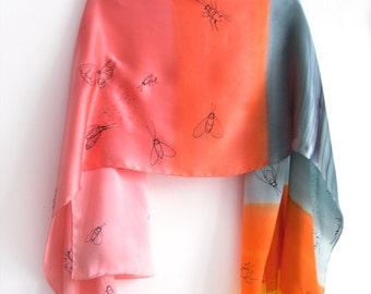 Silk satin shawl handpainted/ Extravagant scarf wrap in coral, orange and gray/ Butterfly scarf shawl/ Bright luxurious shawl/ Unique gifts